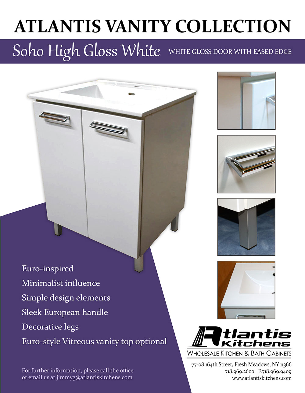 Atlantis Vanity Collection Soho High Gloss White